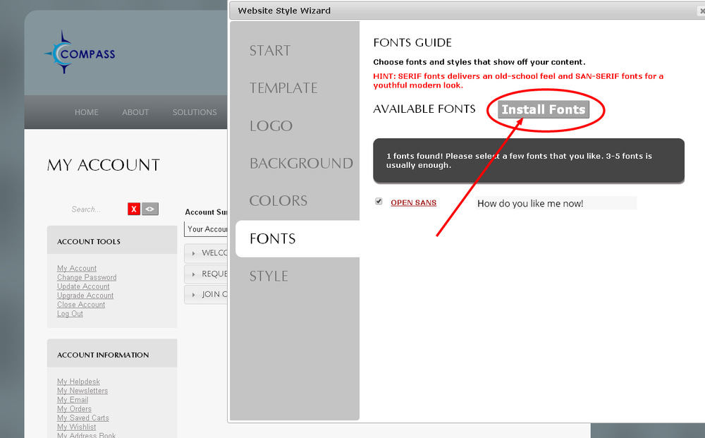 Install new fonts to customize your Monkey Business Website Theme