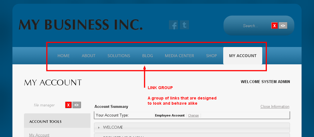 Sample Link Group ( Menu ) in Monkey Business